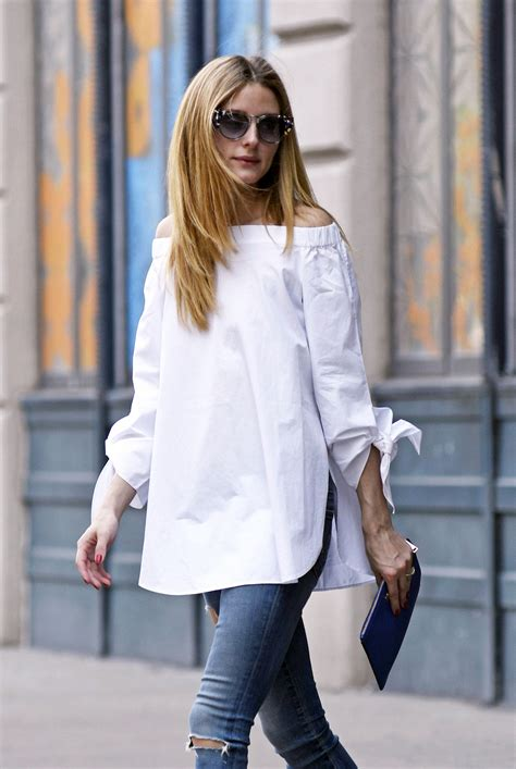 Olivia Palermo's Off the Shoulder Top and White Sneakers
