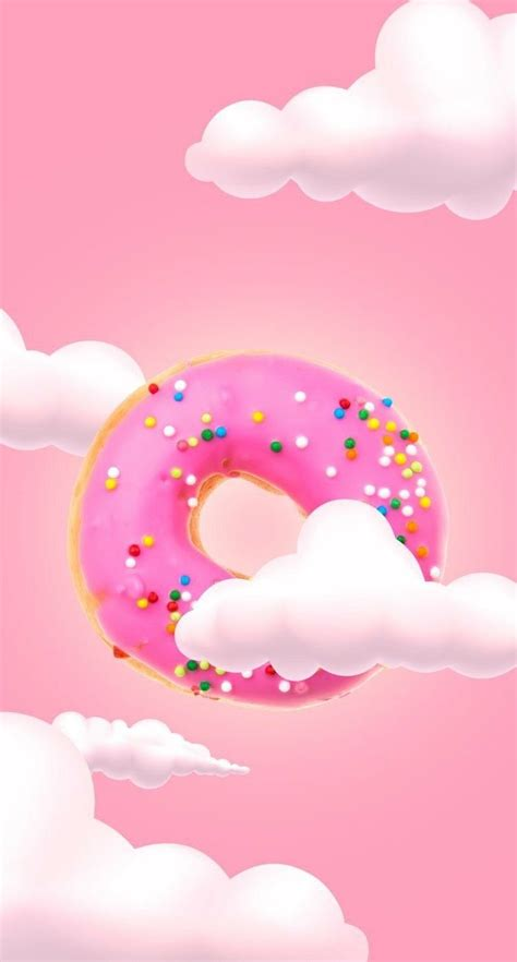 Choose from our handpicked custom iphone wallpaper collection. Cute Donut & Clouds Wallpaper 🍩☁ | Iphone wallpaper, Kawaii wallpaper, Pink wallpaper