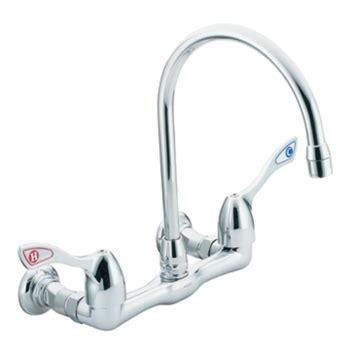 moen wall mount kitchen faucet moen 8126 commercial two handle wall mount kitchen faucet chrome faucetdepot com