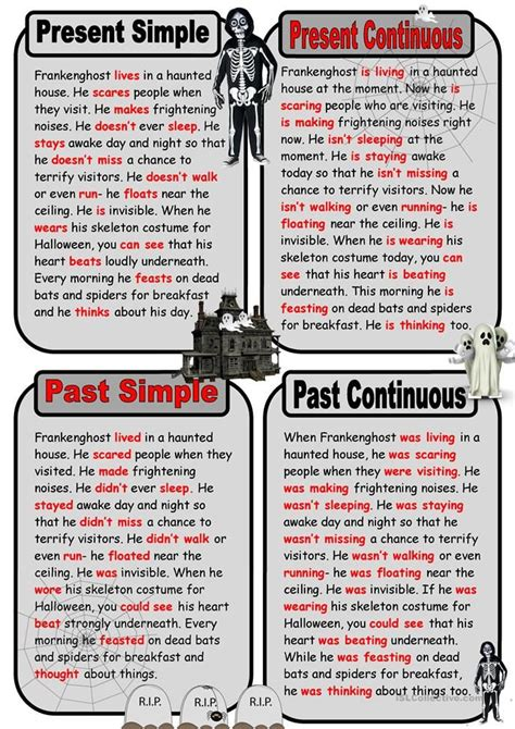 key ghost story  present   tenses english esl