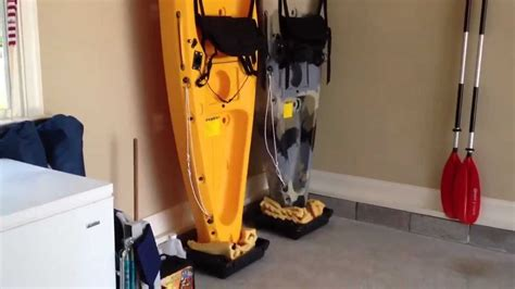 Kayak Ceiling Hoist Diy by Diy Easy Kayak Upright Garage Storage Youtube