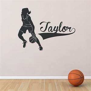 Female basketball player custom name wall decal for Basketball wall decals
