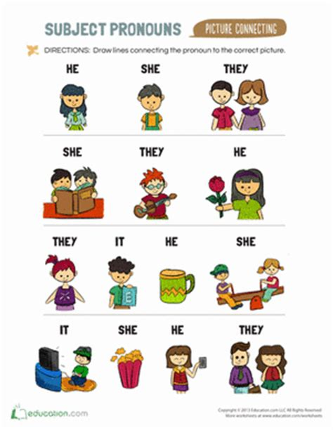 Subject Pronouns For Kids  Worksheet Educationcom