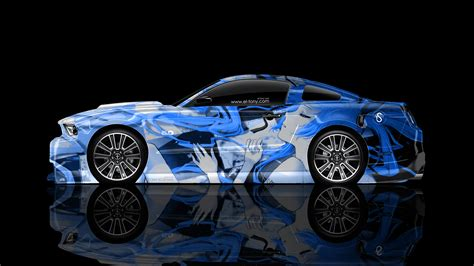 ford mustang gt muscle side anime girl aerography car