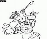 Spear Viking Coloring Horseback Printable sketch template