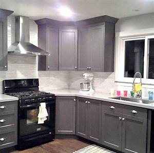 grey cabinets black appliances silver hardware full With kitchen cabinets lowes with cheap black and white wall art