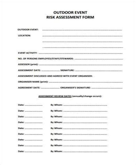 event risk management template sle event risk assessment forms 7 free documents in word pdf