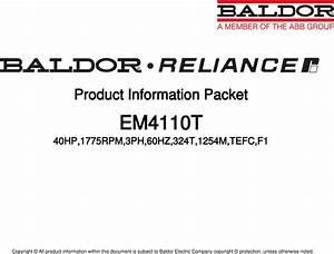 547513 1 Baldor Em4110t Information Packet