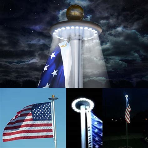 solar powered 20 led flag flagpole light auto active