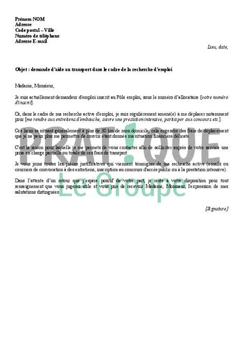 lettre de demande d 39 aide au transport à pôle emploi