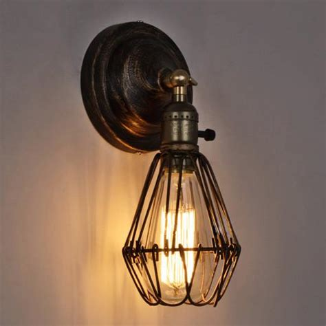 wire cage rustic industrial vintage wall light tudo and co