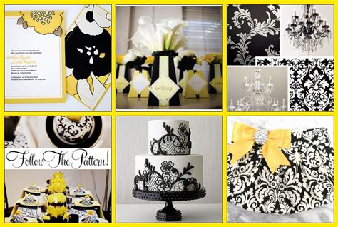 Black & White Damask With Yellow