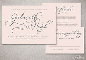 beautiful script quotgabriellequot wedding invitations suite With cost of handwritten wedding invitations