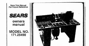 Sears Craftsman Industrial Router Table Manual
