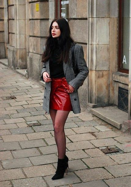 Skirt Tumblr Mini Red Vinyl Wrap Tights