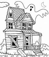 Haunted Coloring Pages Printable Drawing Halloween Spooky Colouring Castle Cool2bkids Super sketch template