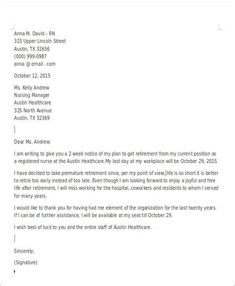 sample retirement resignation letters  word
