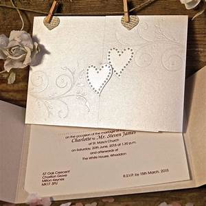 Sparkling hearts wedding invitation gallery for Wedding invitations pocket style uk