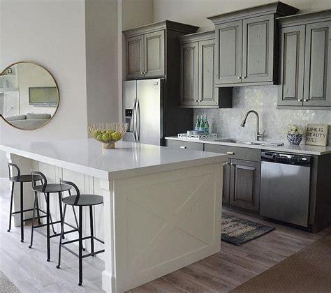 gray kitchen  island wall paint color  benjamin