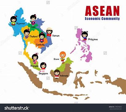 Asia Asean Map East South Cartoon Vector