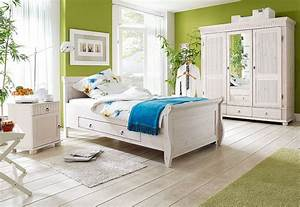 Massivholz Schlafzimmer Set Komplett Kiefer Massiv Wei