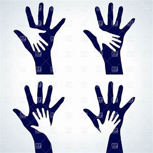 Two hands silhouette - help or charity symbol Royalty Free ...