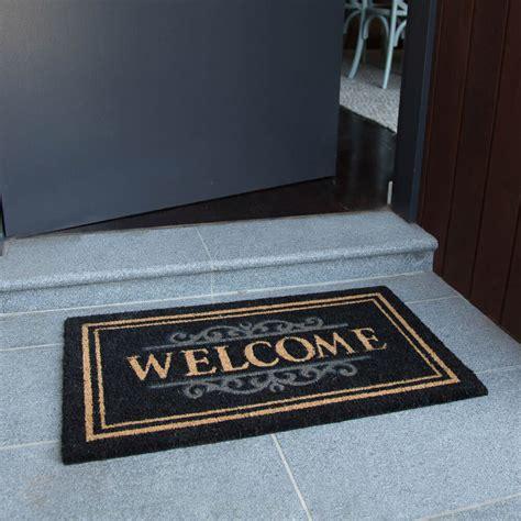Outdoor Welcome Door Mats by Doormat 45x75cm Blk Welcome Coir Door Mat Outdoor