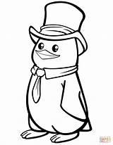 Penguin Coloring Hat Polar Pages Penguins Printable Cartoon Drawing Preschool Paper Cif Supercoloring sketch template