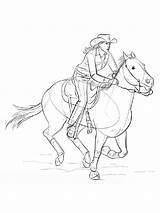 Coloring Cowgirl Pages Horses Printable Recommended Mycoloring sketch template