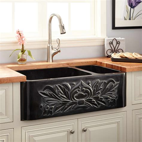 barn style kitchen sinks 33 quot 70 30 offset bowl polished granite 4321