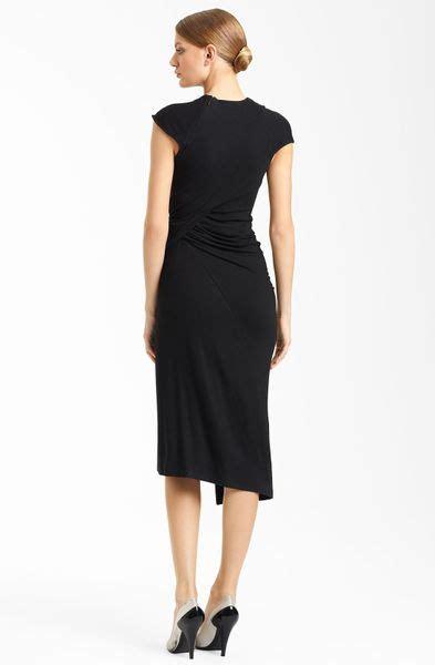 drape nj donna karan new york collection side drape jersey dress in