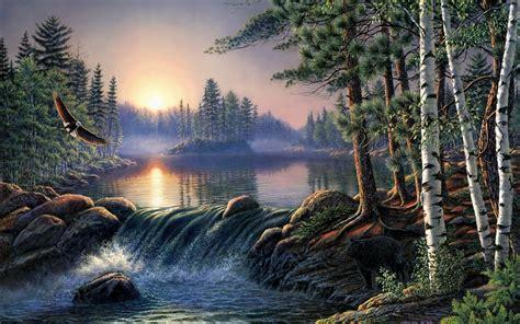 Forest Lake Eagle Bear Sunrise Wallpapers