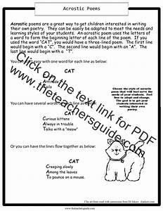Acrostic Poems Worksheets From The Teacher U0026 39 S Guide