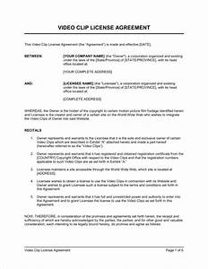 video clip license agreement template sample form With copyright contract template free