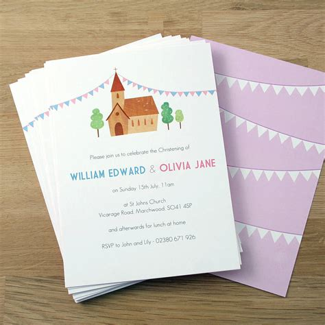 baptism card template personalised twin 39 s christening invitations by made by