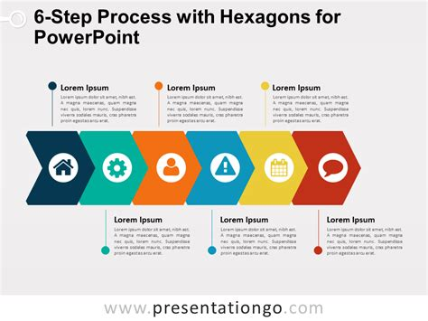 Proces Flow Diagram In Powerpoint by 6 Step Process With Hexagons For Powerpoint