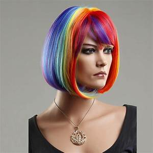Woman's Wig Rainbow Wig Short Straight Bob Haircut Cosplay ...
