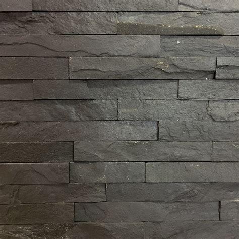 Large Kitchen Ideas - slate black split face tile 10x40cm wall cladding ceramic planet