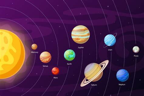 Cartoon Solar System Scheme. Planets In Planetary Orbits