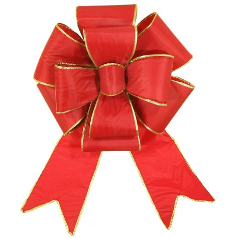 red with gold trim blooming puff nylon christmas bow