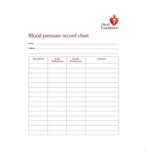 blood pressure chart template   excel  word