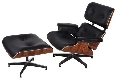 Wood And Leather Chair With Ottoman by Eaze Lounge Chair And Ottoman Black Leather Palisander