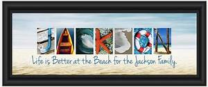 personalized quotbeach themedquot family panoramic 8quot x 20 With beach themed letter art