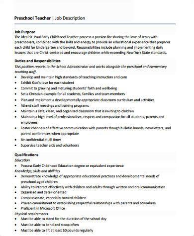 sle preschool resume 6 exles in word pdf