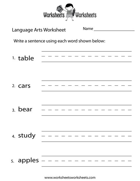 fun language arts worksheet  printable educational