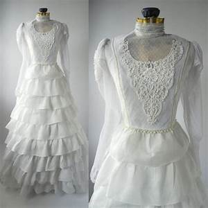 vintage wedding gown white retro bridal dress linen With linen wedding dress