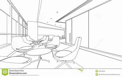 Sketch Outline Interior Reception Area Meeting Drawing