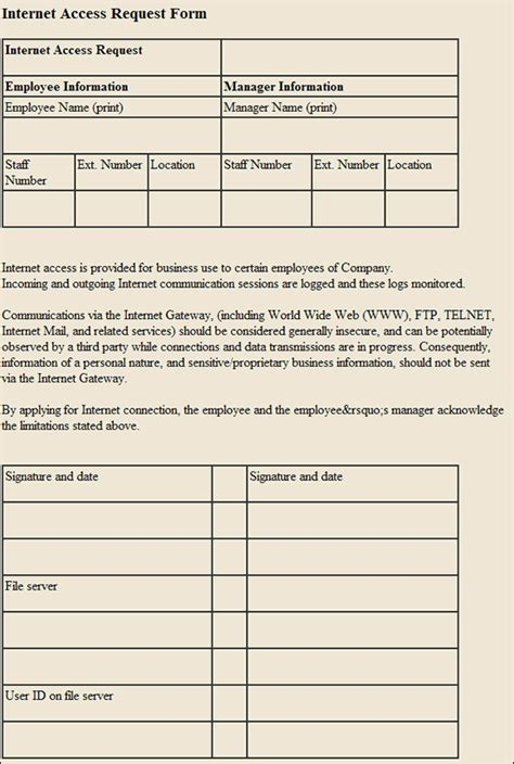 internet access request form template search results template house cleaning request form html