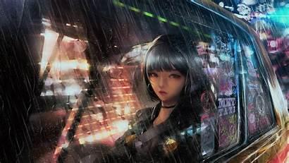 4k Anime Raining Taxi Wallpapers Backgrounds Sad