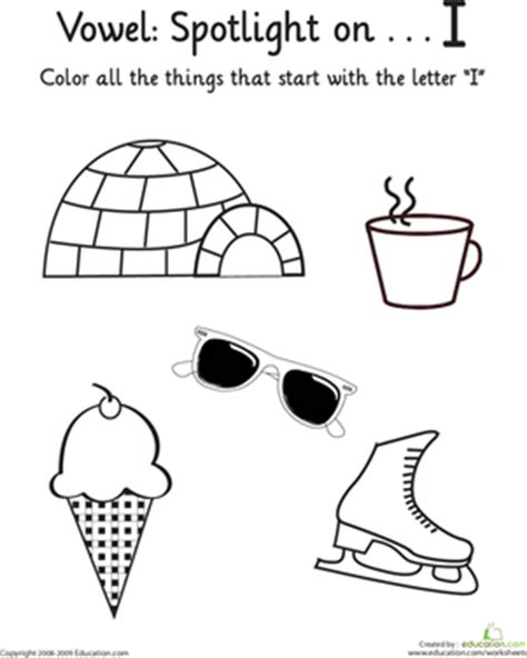 things that start with letter t with objects that things that start with i vowel spotlight worksheet 33428